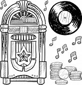 image of jukebox  - Doodle style retro jukebox with vinyl record - JPG