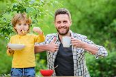 Father Son Eat Food And Have Fun. Little Boy And Dad Eating. Nutrition For Kids And Adults. Healthy  poster
