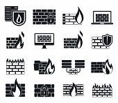 Firewall Data Icons Set. Simple Set Of Firewall Data Vector Icons For Web Design On White Background poster