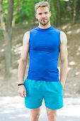 He Is Healthy And Muscular. Muscular Man Training On Summer Day. Athletic Guy With Muscular Arms Cro poster