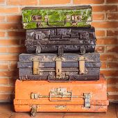 Collage Of Retro Travel Suitcases. Set Of Old Suitcases. Brown And Black Retro Suitcase. Vintage Bag poster