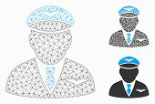 Mesh Pilot Model With Triangle Mosaic Icon. Wire Frame Polygonal Mesh Of Pilot. Vector Mosaic Of Tri poster