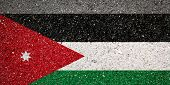 National Flag Of Jordan On A Stone Background.the Concept Of National Pride And Symbol Of The Countr poster