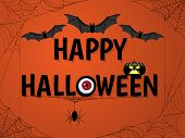 Halloween Background With Halloween Elements, Bats, Eye, Spiders And Cobweb And Happy Halloween Text poster