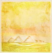 old paper with pyramids giza , vector illustration
