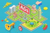 Isometric Flat Vector Concept Of Outdoor Advertising, Advertisement Billboards. poster