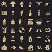 Hobby Icons Set. Simple Style Of 36 Hobby Icons For Web For Any Design poster