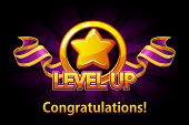 Level Up Icon, Game Screen. Vector Illustration With Golden Star And Puple Award Ribbon. Graphical U poster