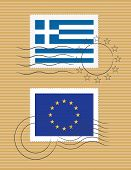 Greece And European Union - Stamps With Flag