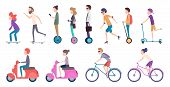 People City Transport. Crowded Urban Transportation Electric Scooter Vehicle Movement Bike Roller Ca poster