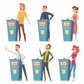 Quiz Players. Tv Show Characters Answer Questions Entertainment Smart Games Vector Cartoon Pictures. poster