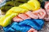 The Silk Yarn Is Obtained From A Silkworm, Household Handicrafts Of Thai Silk Use For Weaving Tradit poster