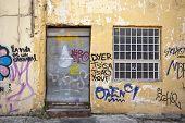 Old Wall Fill Of Graffiti