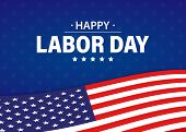 Labor Day Holiday Banner. Happy Labor Day Greeting Card. Usa Flag. United States Of America. Work, J poster