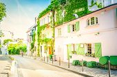 View Of Old Street In Quarter Montmartre In Paris, France. Cozy Cityscape Of Paris At Summer. Archit poster