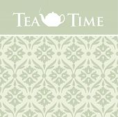 Vector Ornamental Background with Teapot Illustration
