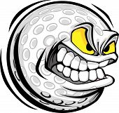 Golf Ball Face Cartoon Vector Image