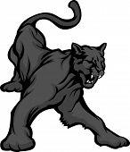 Pantera mascota cuerpo Vector Illustration