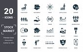 Stock Market Icon Set. Contain Filled Flat Bear Market, Stock Market, Stock Prices, Stock Agent, Bus poster
