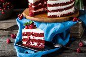 Red Velvet Cake On Wood Board. Slice Of Cake. Raspberry Cake. Devils Cake. Wedding Dessert. Birthday poster