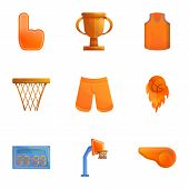 Basketball Objects Icon Set. Cartoon Set Of 9 Basketball Objects Vector Icons For Web Design Isolate poster