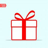 Illustration Of Red Gift Box Icon On Background. Christmas Gift Icon Illustration Vector Symbol. Pre poster