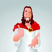 stock photo of eye-wink  - Funny Design Art of Winking Eye Jesus Christ Portrait - JPG