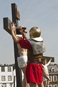 Jesus's hands are nailed to the cross as part of the crucifixion reenactment