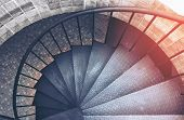 Spiral Steel Staircase Circular Staircase Decoration Interior. Travel And Architecture Background.sp poster