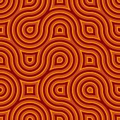 Funky Wild Circle Seamless Pattern Orange Red