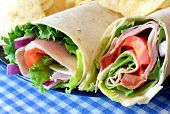 Healthy turkey vegetable wraps