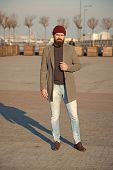 Hipster Outfit. Stylish Casual Outfit For Fall And Winter Season. Menswear And Male Fashion Concept. poster