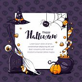 Halloween Postcard Vector Illustration With Scary Theme And Space For Text. Halloween Card With Eyeb poster