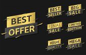 Golden Best Offer Labels. Best Offer, Best Sale, Best Seller, Final Sale, High Quality, Mega Sale, L poster
