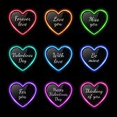 Color Neon Light Hearts Set With Celebration Text. Bright Led Lamp Sign. Retro Heart Shape Badge On  poster