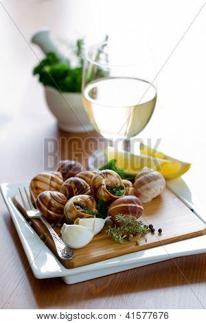 Постер, плакат:  Французские блюда виноградные улитки де Бургонь улитки с травы маслом , холст на подрамнике