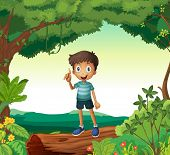 Illustration of a boy standing on wood in nature