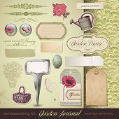 kit de Scrapbooking: jardinagem - ephemera sortida