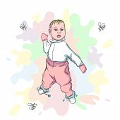 Vector Card With Baby And Bees