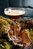 Cocktail Espresso Martini with Light Rum, Coffee Liquor, Espresso and Syrup