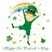 happy boy dressed as leprechaun; st. patrick's day design