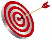 stock photo of bullseye  - Arrow on Archery Target Bullseye Isolated on White Background Illustration - JPG