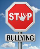 image of stop bully  - stop bullying at school or at work stopping an online internet bully - JPG