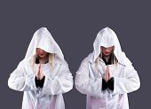image of crossdresser  - Studio portrait of two transvestites in white cloaks - JPG