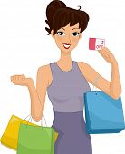 Illustration of a Female Shopper Holding a Discount Card in One Hand and Carrying Shopping Bags with Both Arms