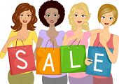 Illustration of Girls Carrying Shopping Bags with the Word Sale Written on Them