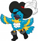 Illustration of a Blue Pirate Parrot wearing a Pirate Hat and Eye Patch