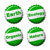 Set Of Earth Bottle Caps Isolated On White Background