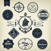 stock photo of anchor  - Set Of Vintage Retro Nautical Badges And Labels - JPG