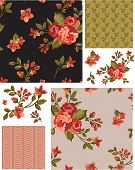 Pretty Vector Rose Seamless Patterns and Elements. Use as fills, digital paper, or print off onto fabric to create unique items.